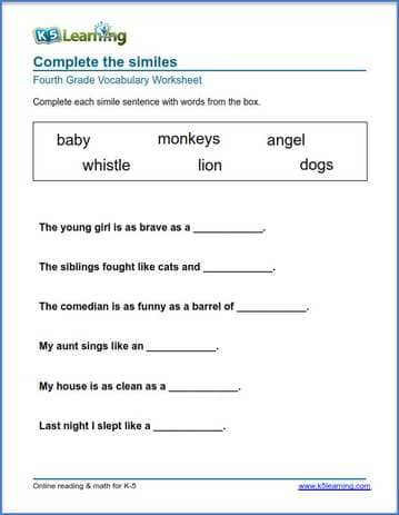 Grade 4 Vocabulary Worksheets – printable and organized by subject ...