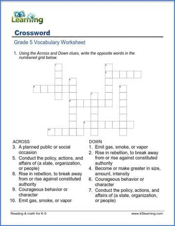 Crosswords For Grade 5 K5 Learning