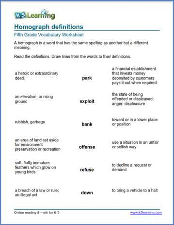 Grade 5 Vocabulary Worksheet homopgraph definitions