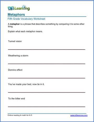 Grade 5 Vocabulary Worksheets