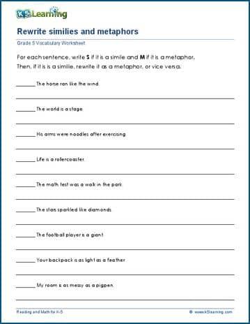 Grade 5 Vocabulary Worksheets Metaphors K5 Learning
