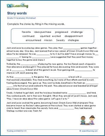 grade 5 vocabulary worksheets complete paragraphs k5 learning. Black Bedroom Furniture Sets. Home Design Ideas