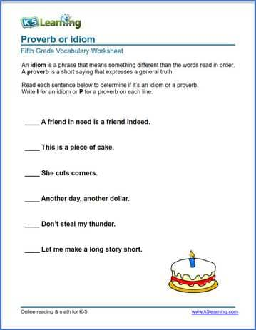 Grade 5 Vocabulary Worksheet proverb or idiom