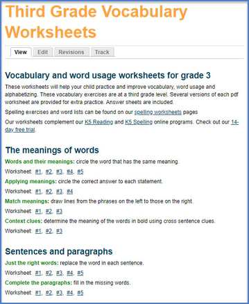 Grade 3 Vocabulary Worksheets Printable And Organized By